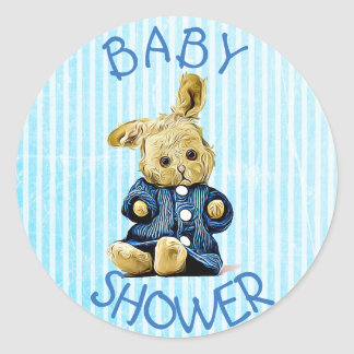Baby Shower Blue Vintage Rabbit stickers