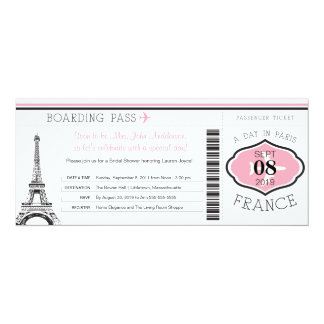 Baby Shower Boarding Pass to Paris Card