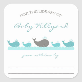 Baby Shower bookplates / turquoise gray whales Square Sticker