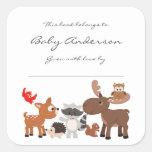 Baby Shower bookplates / woodland animals Square Sticker