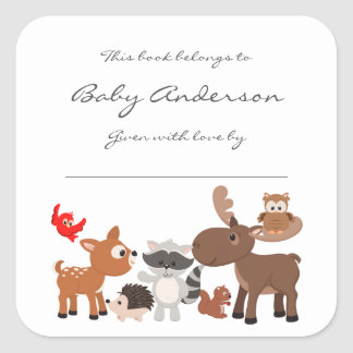 Baby Shower bookplates / woodland animals Square Sticker
