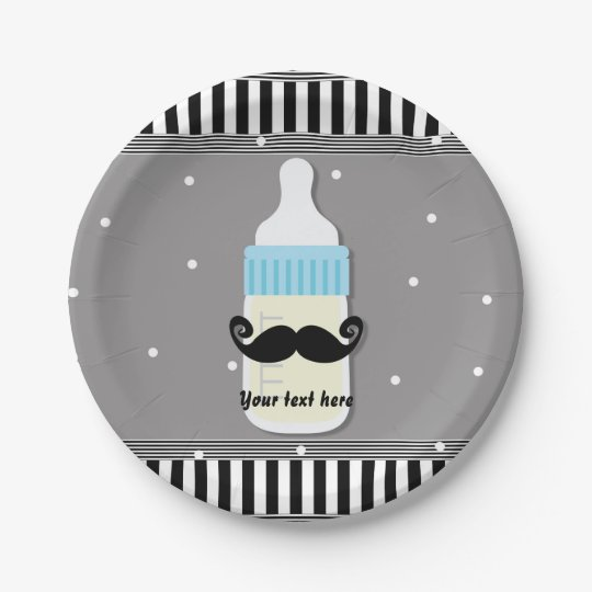 Baby Shower Bottle & Moustache Modern Plates 7 Inch Paper Plate