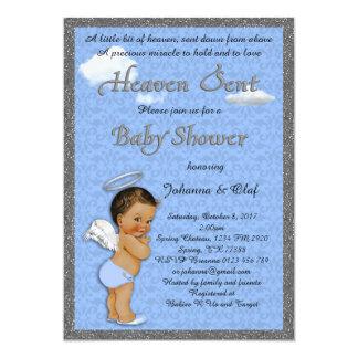 Baby Shower Boy, Baby Angel,Blue, glitter, silver Card