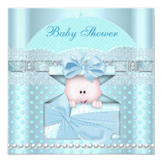 Baby Shower Boy Baby Blue Teal Umbrella Spot Card