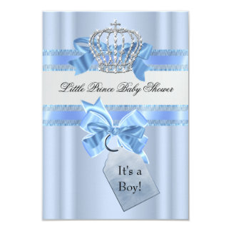 "Baby Shower Boy Blue Little Prince Crown SML 3.5"" X 5"" Invitation Card"