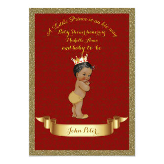 Baby Shower BOY,glitter frame,red & gold. Card