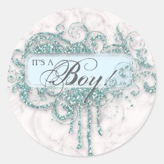 Baby Shower Boy Marble Blue Glitter Confetti Round Sticker