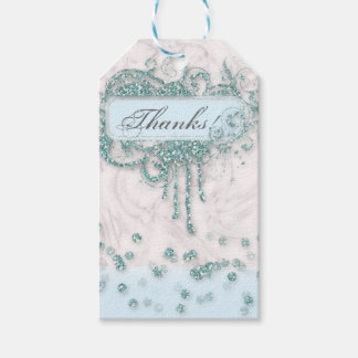Baby Shower Boy Marble Blue Glitter Thank You Pack Of Gift Tags