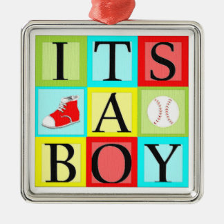 baby shower boy metal ornament