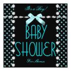 Baby Shower Boy Teal Blue Black White Polka Dot Card