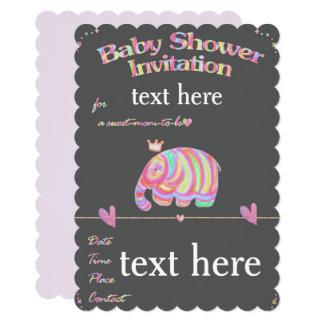 Baby shower brillant d'éléphant mignon coloré carton d'invitation  12,7 cm x 17,78 cm