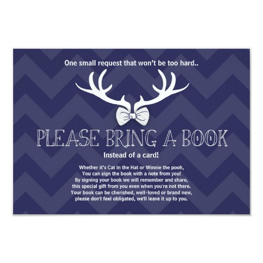 Baby Shower Bring a book Deer Bowtie Navy Antlers Card