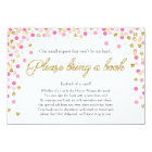 Baby Shower Bring a book Pink Gold Glitter Girl Card