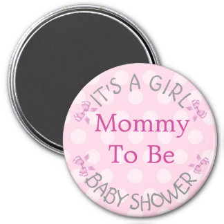 Baby Shower Button, Mama to Be Pink Polka Dots 3 Inch Round Magnet