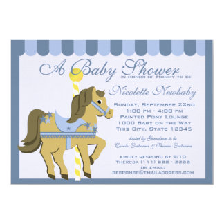 "Baby Shower Carousel Blue 5"" X 7"" Invitation Card"