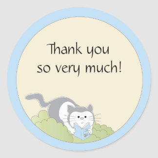 """Baby Shower """"Cat/Blue/Book"""" Stickers 1 1/2"""" or 3"""""""