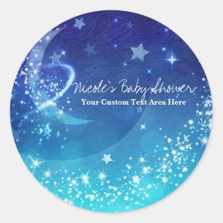 Baby Shower Celestial Moon Sparkle Sky Custom Classic Round Sticker