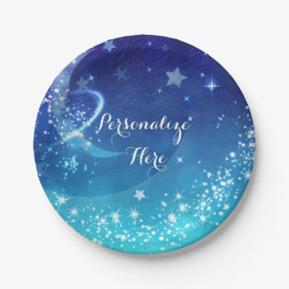 Baby Shower Celestial Moon Sparkle Sky Party 7 Inch Paper Plate