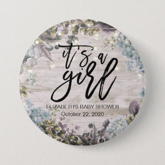 Baby Shower Chic Floral String Lights Rustic Wood 3 Inch Round Button