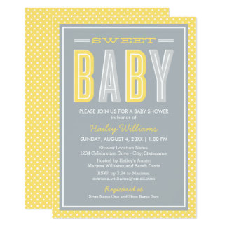 Baby Shower | Chic Type in Bright Yellow and Gray Card