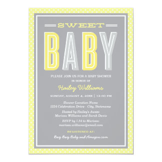 """Baby Shower   Chic Type in Yellow and Grey 5"""" X 7"""" Invitation Card"""