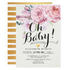 Baby Shower Chic Watercolor Boho Floral Feather Card