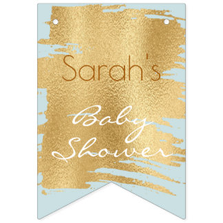 Baby Shower Classic Blue/Gold Swallowtail Banner