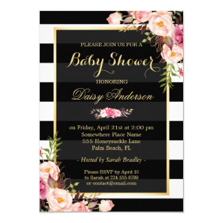 """Baby Shower Classy Floral Gold Black White Stripes 5"""" X 7"""" Invitation Card"""