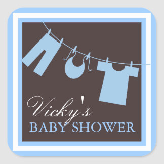 Baby Shower Clothes LIne in Blue Favor Sticker