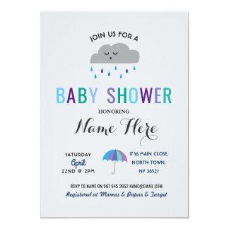 Baby Shower Cloud Sprinkle Rain Cute Umbrella Rain Card