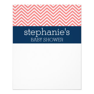 Baby Shower Collection - Coral and Navy Chevrons Flyer