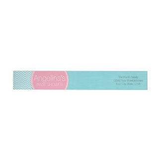 Baby Shower Collection - Pink & Aqua Blue Chevrons Wrap Around Label