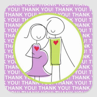 Baby Shower, Couple Thank You Stickers, purple Square Sticker