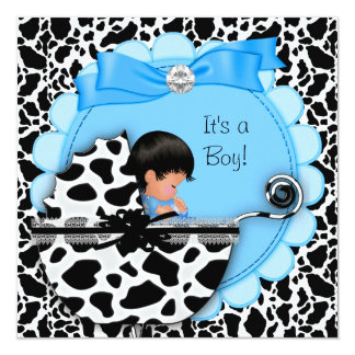 "Baby Shower Cute Baby Boy Blue Pram Cow 5.25"" Square Invitation Card"