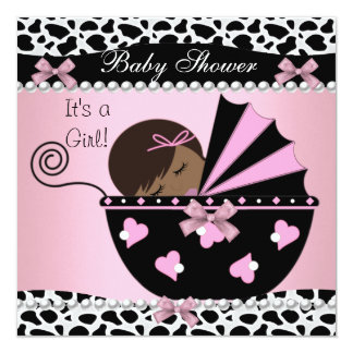Baby Shower Cute Baby Girl Pink Cow Print Card