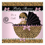 Baby Shower Cute Baby Girl Pink Leopard Bow Invites
