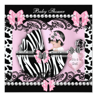 """Baby Shower Cute Baby Girl Pink Zebra Cow Lace 2 5.25"""" Square Invitation Card"""