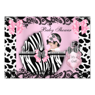 """Baby Shower Cute Baby Girl Pink Zebra Cow Lace 3 4.5"""" X 6.25"""" Invitation Card"""