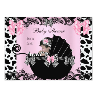 """Baby Shower Cute Baby Girl Pink Zebra Cow Lace 4 4.5"""" X 6.25"""" Invitation Card"""