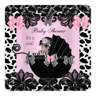 """Baby Shower Cute Baby Girl Pink Zebra Cow Lace 6 5.25"""" Square Invitation Card"""