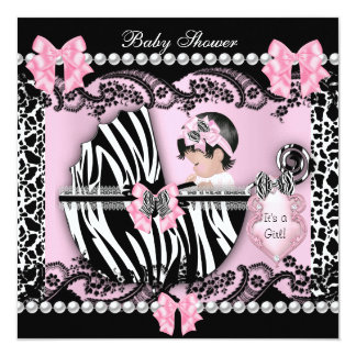 """Baby Shower Cute Baby Girl Pink Zebra Cow Lace 5.25"""" Square Invitation Card"""