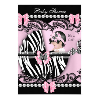 Baby Shower Cute Baby Girl Pink Zebra Lace Personalized Announcements