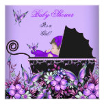 """Baby Shower Cute Baby Girl Purple Butterfly 2 5.25"""" Square Invitation Card"""