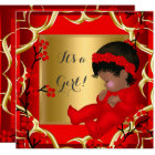 Baby Shower Cute Baby Girl Red Blossom Gold AM 4 Card