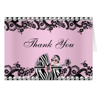 Baby Shower Cute Baby Girl Zebra Thank You Card