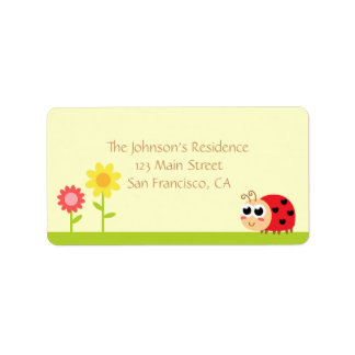 Baby Shower: Cute Baby Ladybug in a garden Label