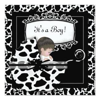 "Baby Shower Cute Baby Pram Cow Black White 5.25"" Square Invitation Card"