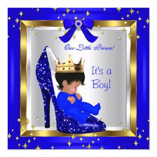 "Baby Shower Cute Boy Prince Royal Blue Shoe 4 5.25"" Square Invitation Card"