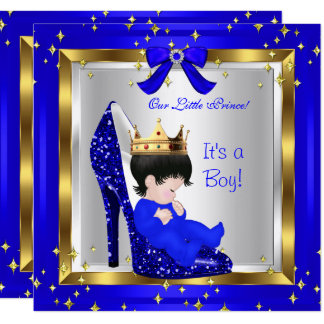 Baby Shower Cute Boy Prince Royal Blue Shoe 6 Card