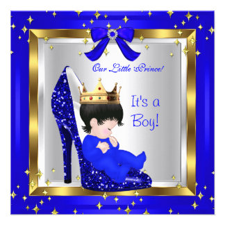 Baby Shower Cute Boy Prince Royal Blue Shoe 6 Custom Announcements